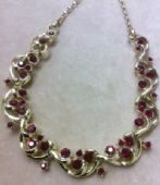 Red Jewelled Necklace by Coro dates to 1960s